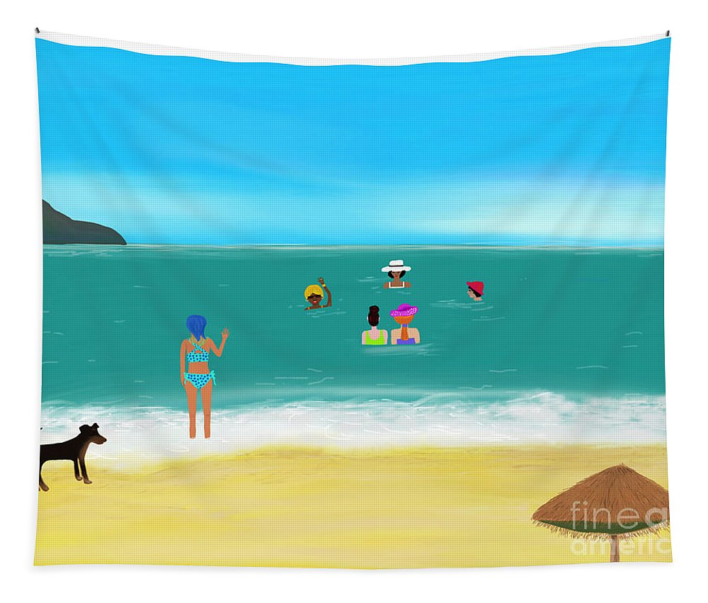 Goa Tapestry featuring the digital art Ladies Meet Up In Goa, India by Barefoot Bodeez Art