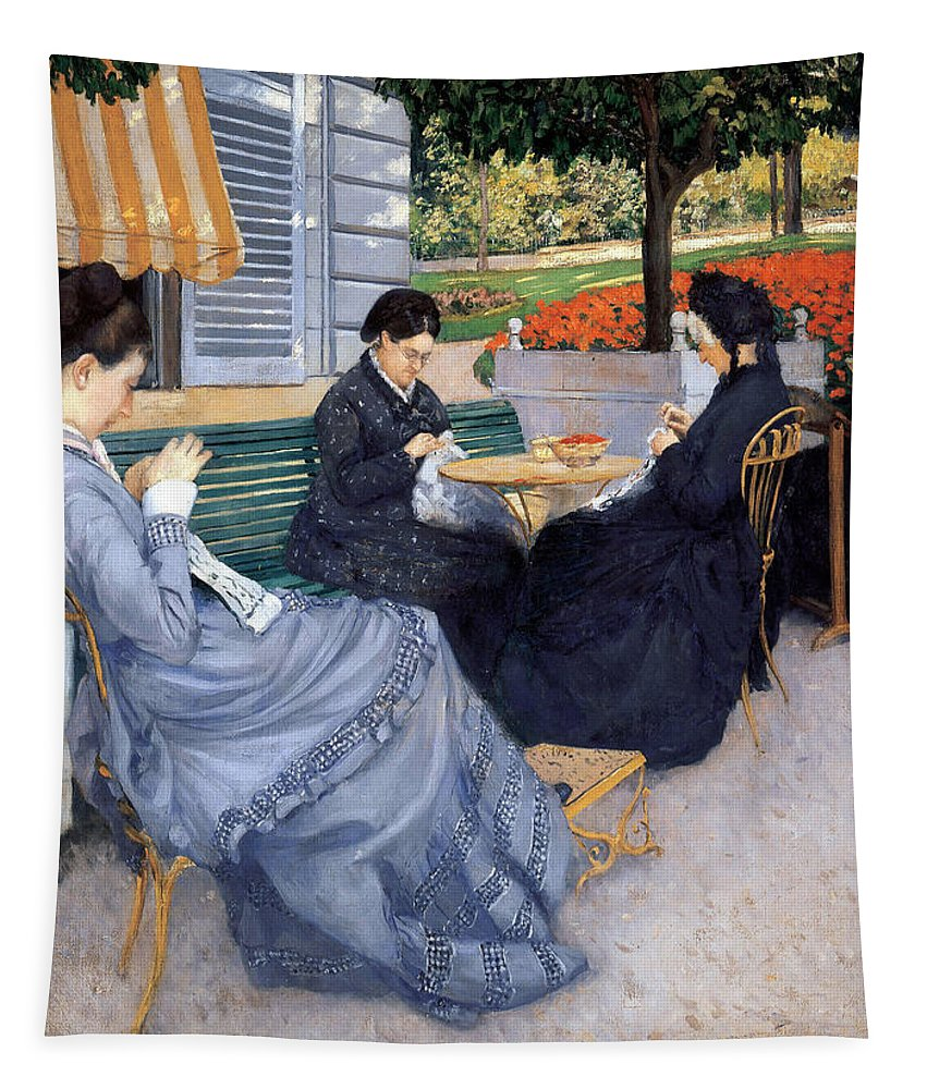 Gustave Caillebotte Tapestry featuring the painting Ladies Sewing by Gustave Caillebotte