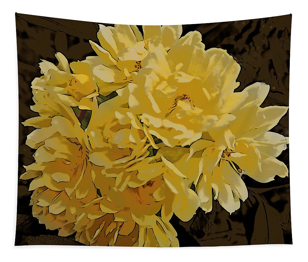 Photographic Print Tapestry featuring the photograph Lady Banks Rose Cluster by Marian Bell