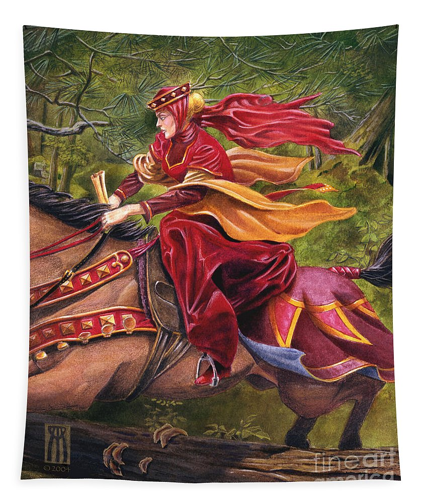 Camelot Tapestry featuring the painting Lady Lunete by Melissa A Benson