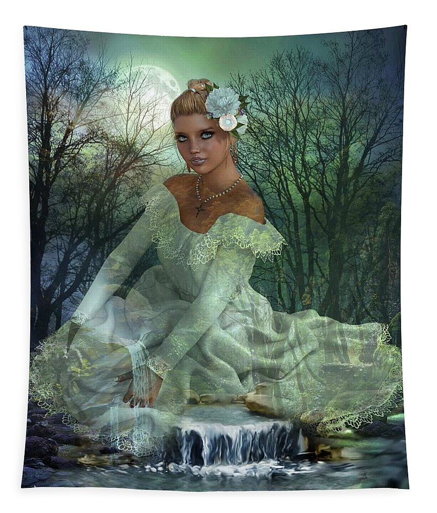 Art Tapestry featuring the digital art Lady Of The Lake by Ali Oppy