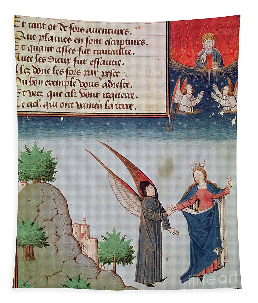 Boethius Tapestry featuring the drawing Lady Philosophy Leads Boethius In Flight Into The Sky On The Wings That She Has Given Him by French School