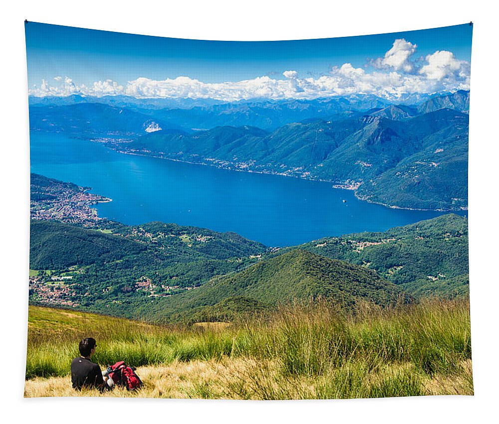 Lago Maggiore Tapestry featuring the photograph Lago Maggiore Italy Switzerland by Matthias Hauser