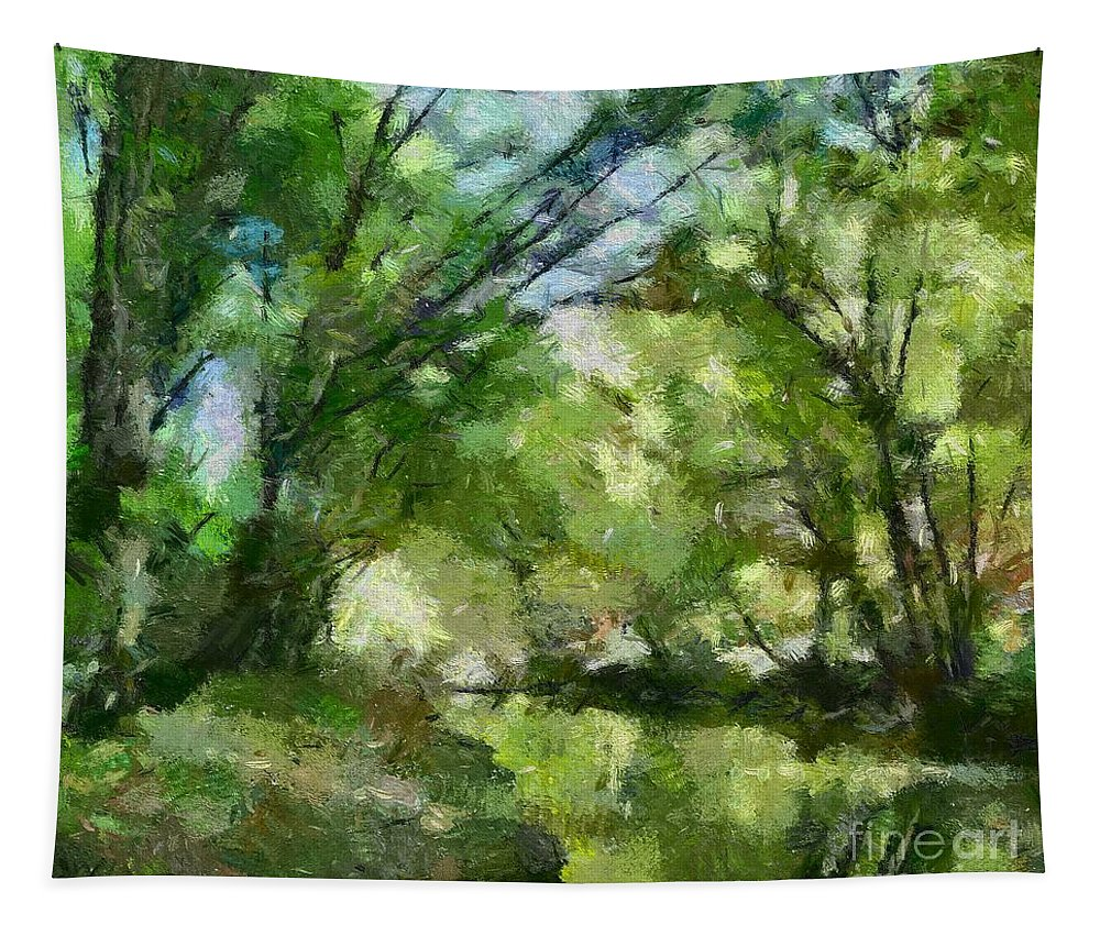 Landscape Tapestry featuring the painting Lahinja River by Dragica Micki Fortuna
