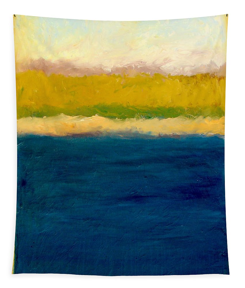 Dunes Tapestry featuring the painting Lake Michigan Beach Abstracted by Michelle Calkins