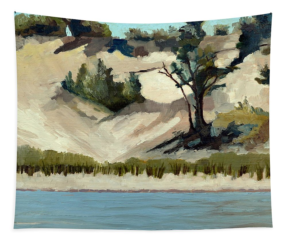 Nature Tapestry featuring the painting Lake Michigan Dune With Trees And Beach Grass by Michelle Calkins