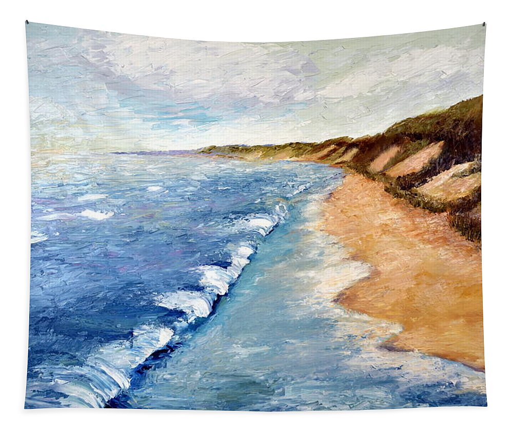 Whitecaps Tapestry featuring the painting Lake Michigan With Whitecaps Ll by Michelle Calkins