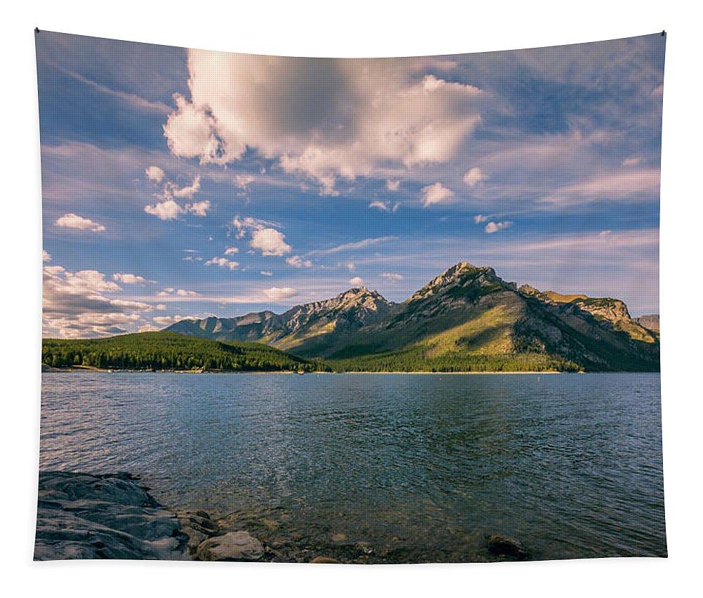 Joan Carroll Tapestry featuring the photograph Lake Minnewanka Banff II by Joan Carroll