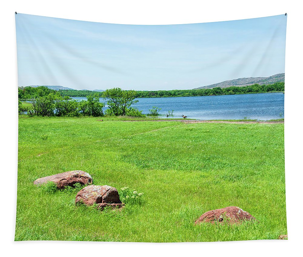 Lake Quanah Parker Tapestry featuring the photograph Lake Quanah Parker - Wichita Mountains - Oklahoma by Debra Martz