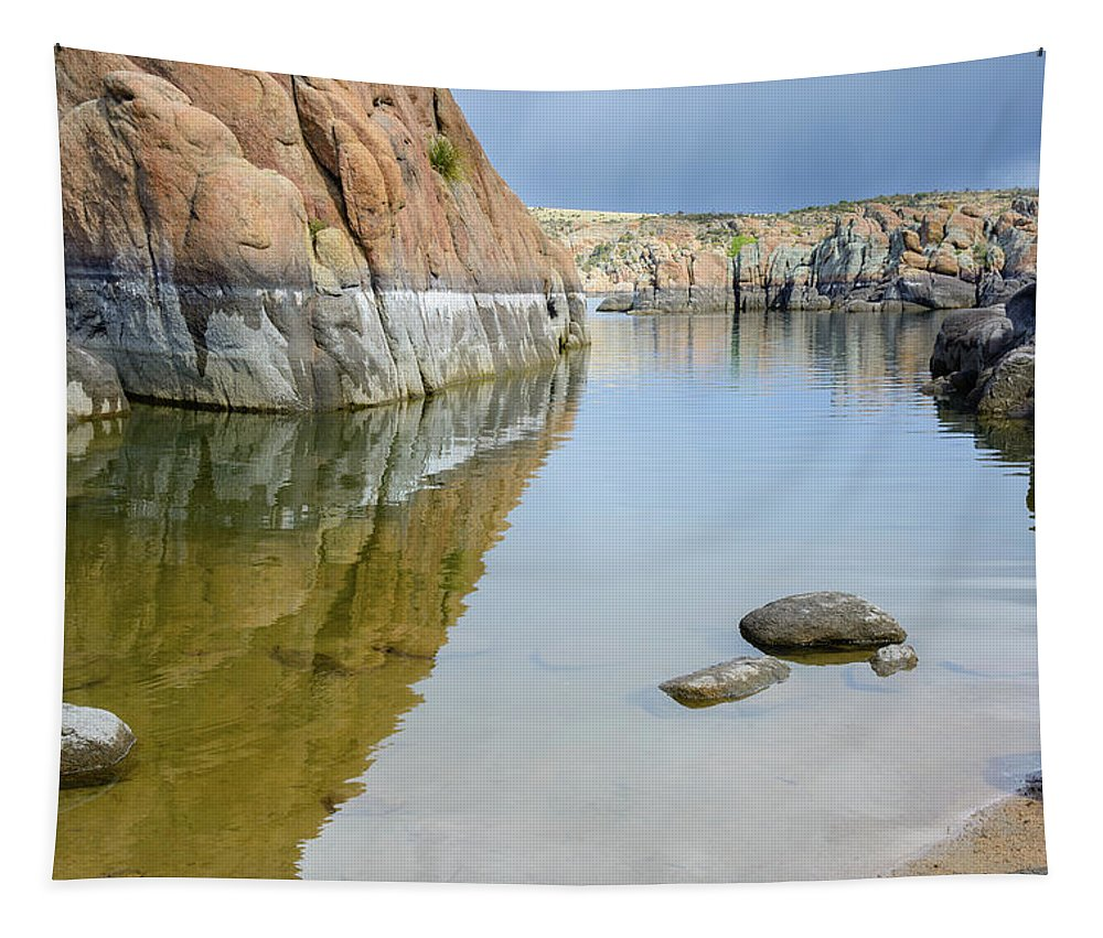 Water Tapestry featuring the photograph Lake Reflections At Granite Dells by Daniel Dean