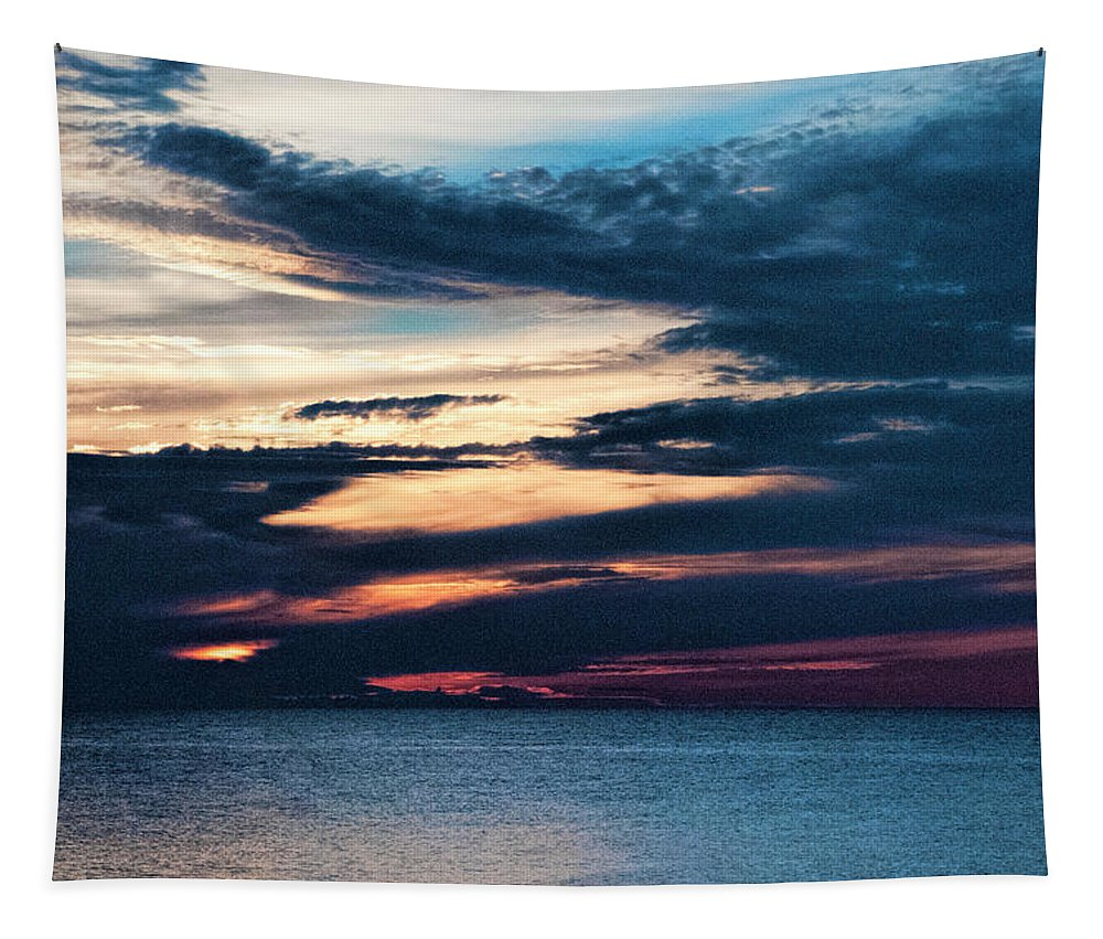 Lake Superior Sunset Tapestry featuring the photograph Lake Superior Sunset by Phyllis Taylor