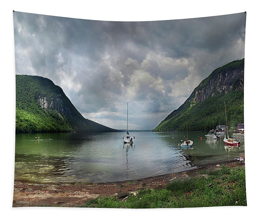Willoughby Tapestry featuring the photograph Lake Willoughby Panorama One by Nancy Griswold