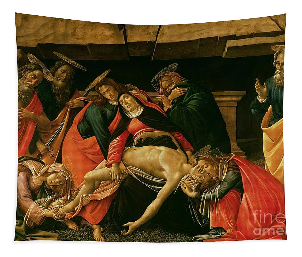 Lamentation Tapestry featuring the painting Lamentation Of Christ by Sandro Botticelli