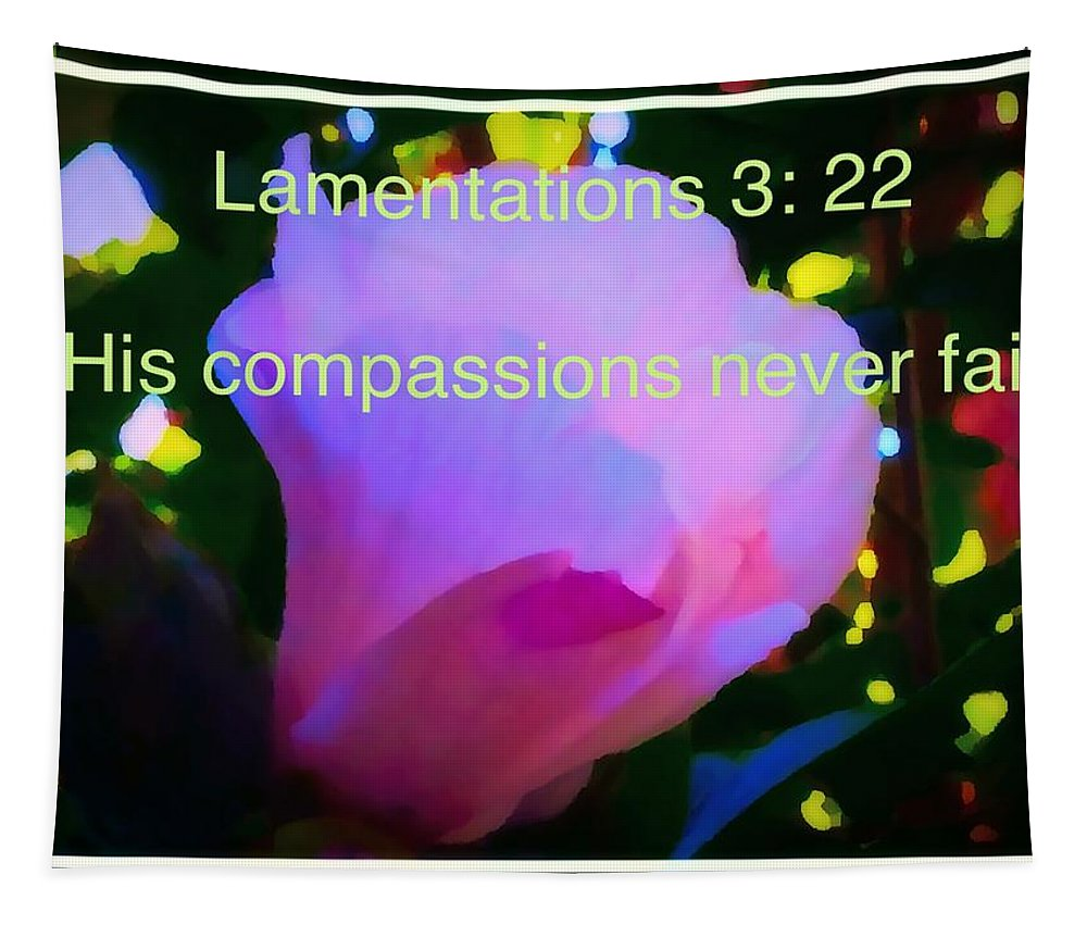 Hibiscus Tapestry featuring the photograph Lamentations His Compassions Never Fail by Debra Lynch