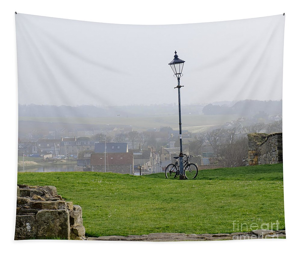 Lamppost Tapestry featuring the photograph Lamppost And Bike. by Elena Perelman