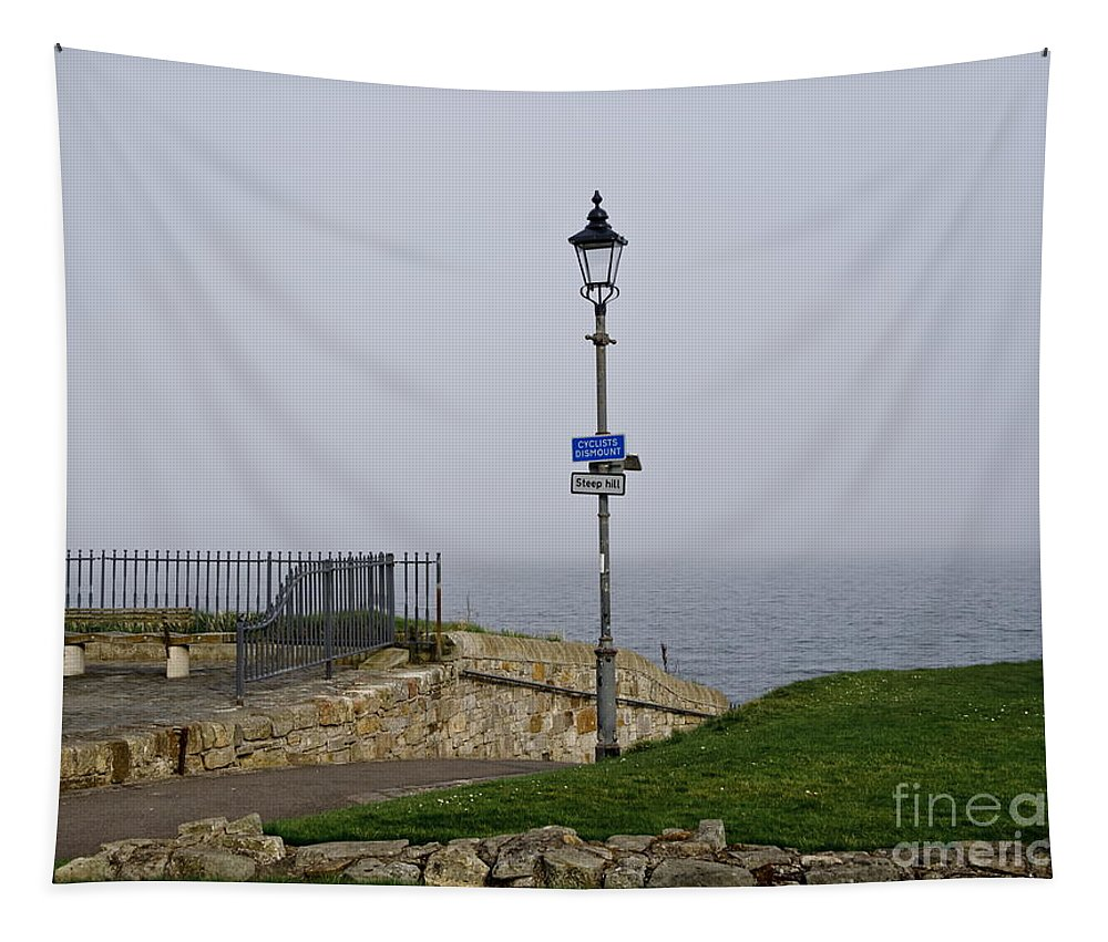 Lamppost Tapestry featuring the photograph Lamppost Near The Sea. by Elena Perelman