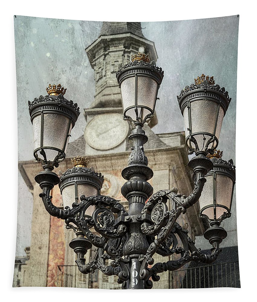 Joan Carroll Tapestry featuring the photograph Lamppost Plaza Mayor Madrid Spain by Joan Carroll