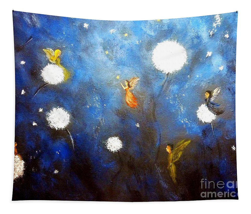 Fairies Tapestry featuring the painting Land Of Fairies 2 by Andreea Moldovan