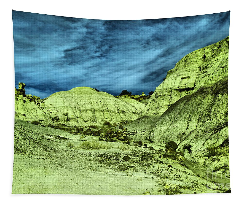 Bisti Badlands Tapestry featuring the photograph Land Of Turmoil by Jeff Swan