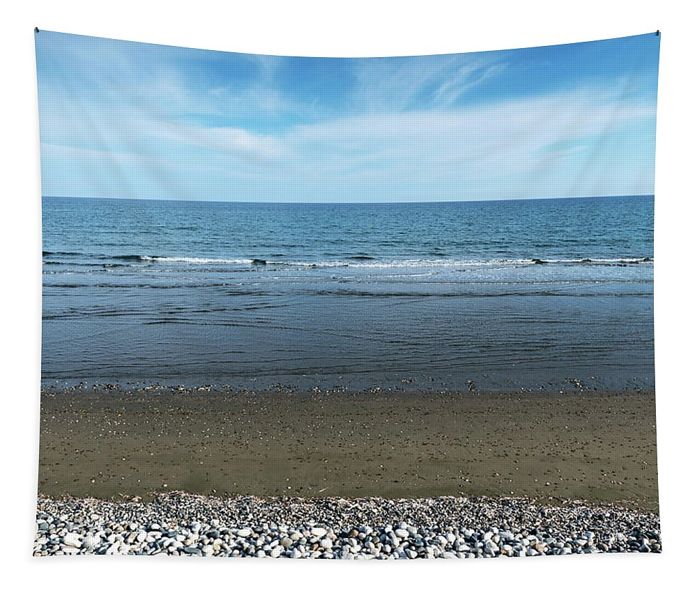 Beach Tapestry featuring the photograph Land Sea And Ocean Background by Michalakis Ppalis