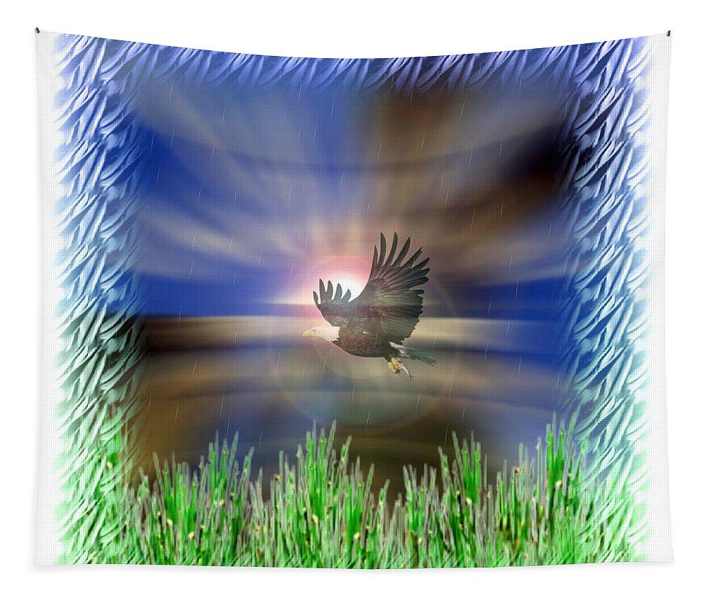 Animal Tapestry featuring the digital art Landing by Linda Galok