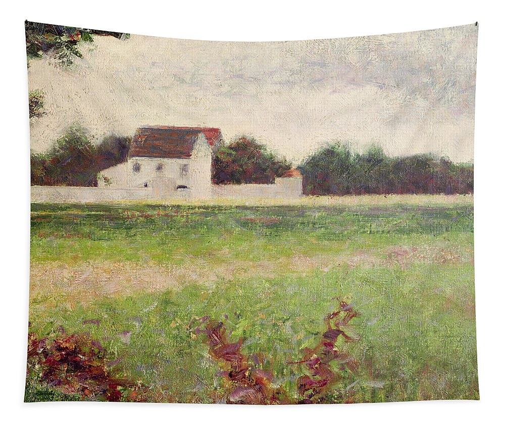 Seurat Tapestry featuring the painting Landscape In The Ile De France by Georges Pierre Seurat