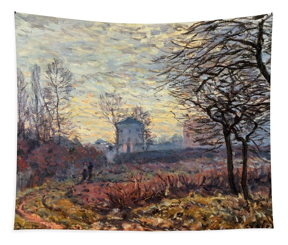 Landscape Near Louveciennes Tapestry featuring the painting Landscape Near Louveciennes by Alfred Sisley