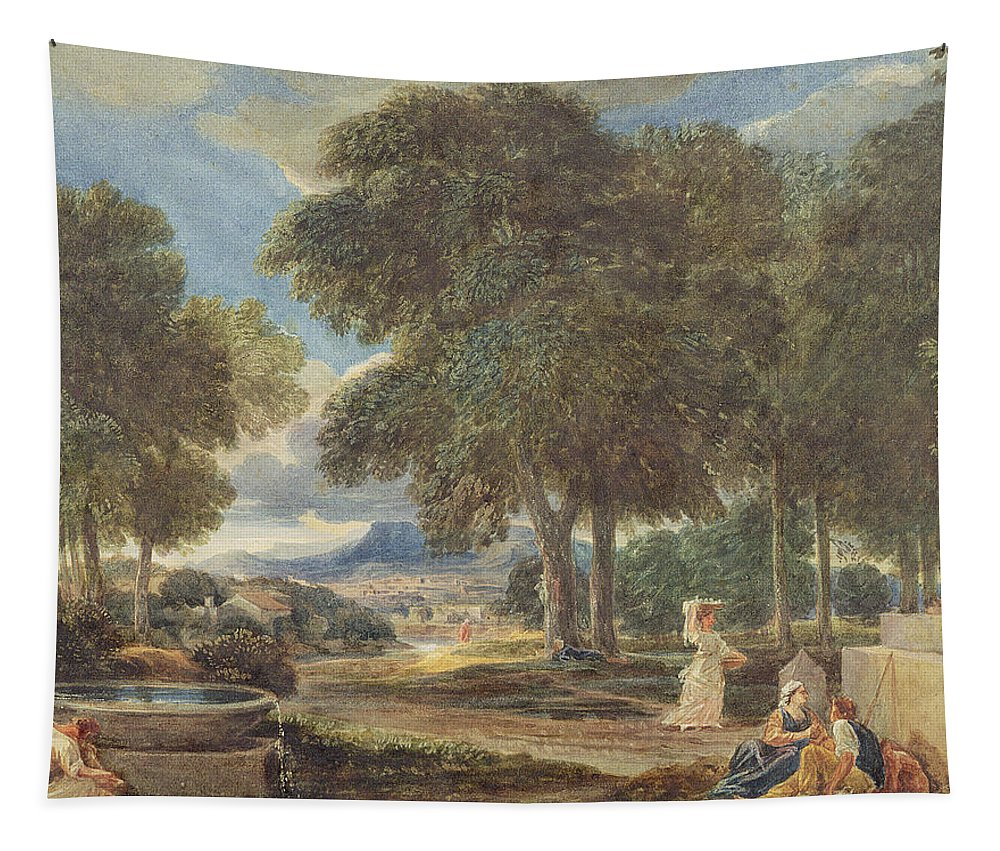 Fountain Tapestry featuring the painting Landscape With A Man Washing His Feet At A Fountain by David Cox