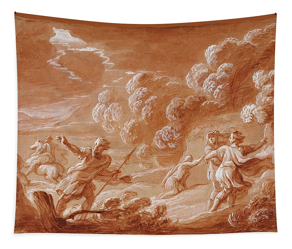 Attributed To Jan Boeckhorst Tapestry featuring the drawing Landscape With Figures In A Storm Possibly Dido And Aeneas by Attributed to Jan Boeckhorst