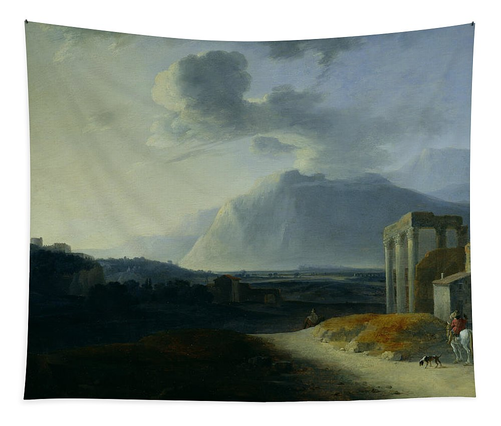 Landscape Tapestry featuring the painting Landscape With Mount Stromboli by Willem Schellinks