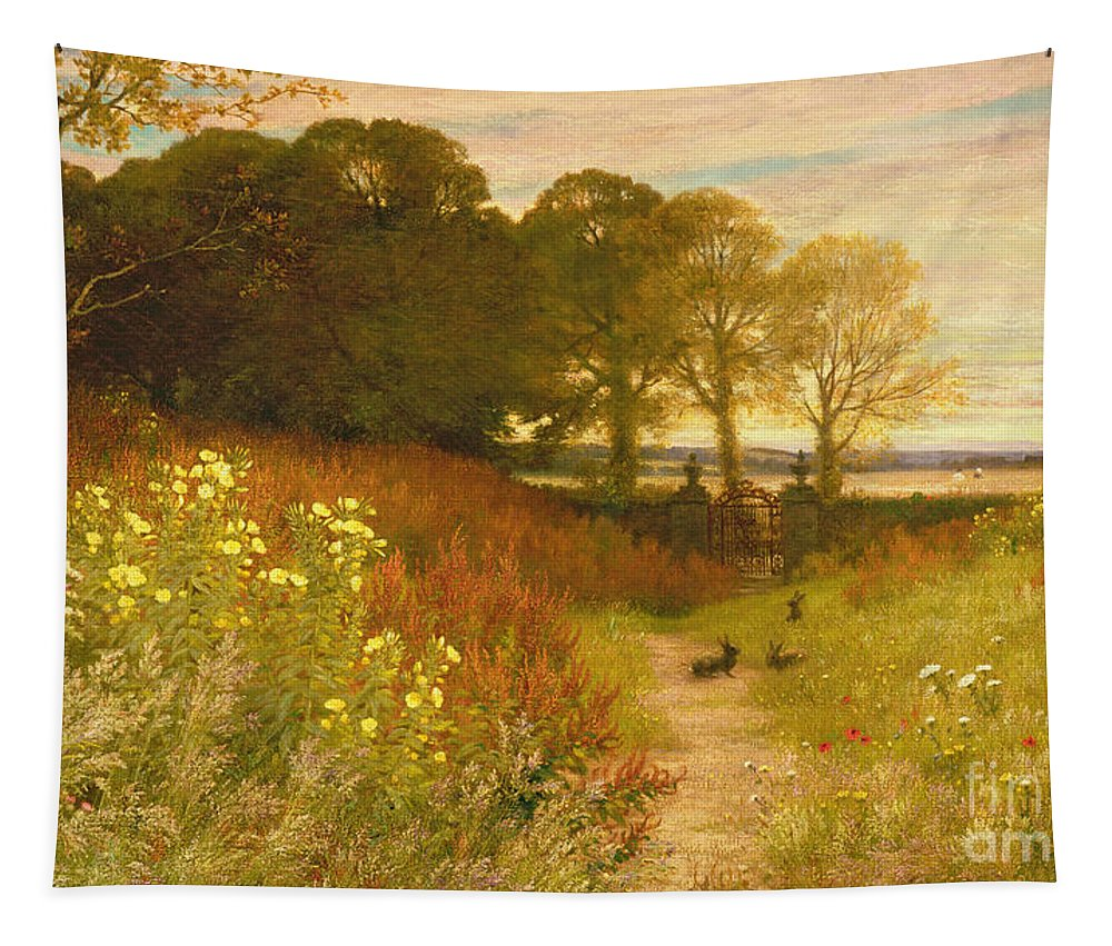Landscape Tapestry featuring the painting Landscape with Wild Flowers and Rabbits by Robert Collinson