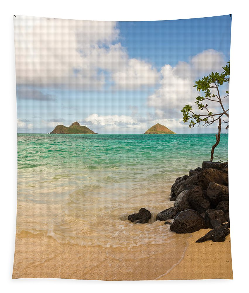 Lanikai Kailua Oahu Hawaii Beach Park Seascape Tapestry featuring the photograph Lanikai Beach 1 - Oahu Hawaii by Brian Harig