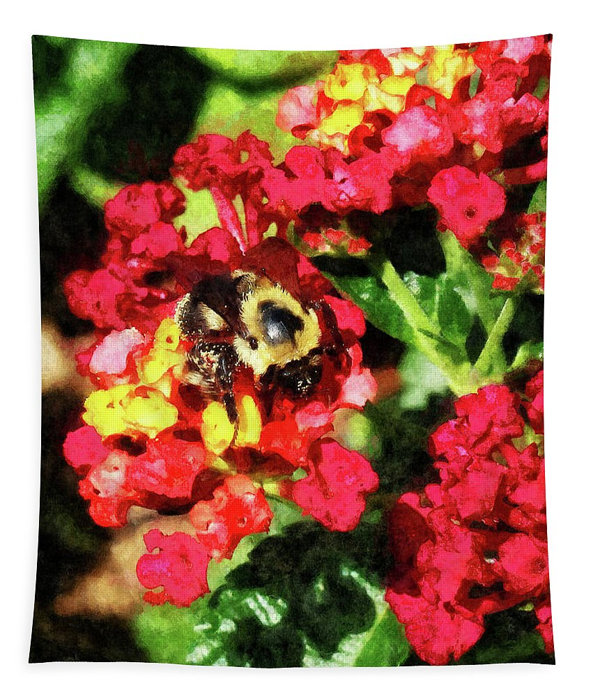 Bee Tapestry featuring the photograph Lantanas And The Bee by Susan Savad