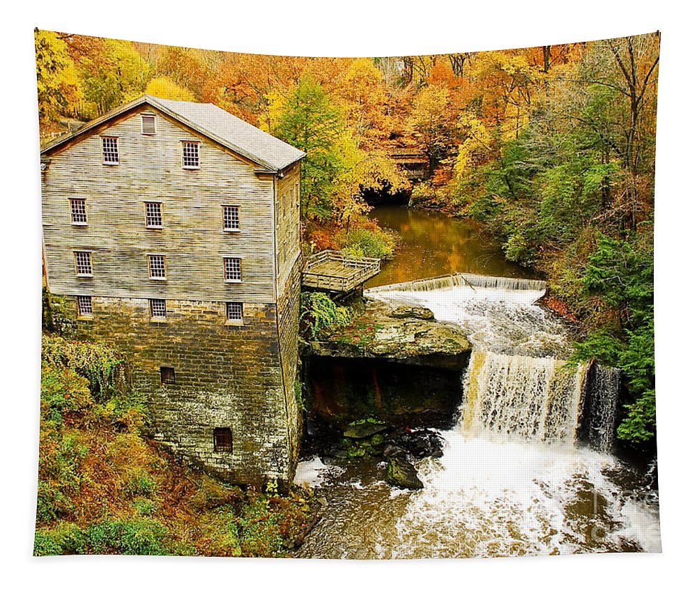 Lantermans Mill Tapestry featuring the photograph Lantermans Mill In Fall by Tony Bazidlo