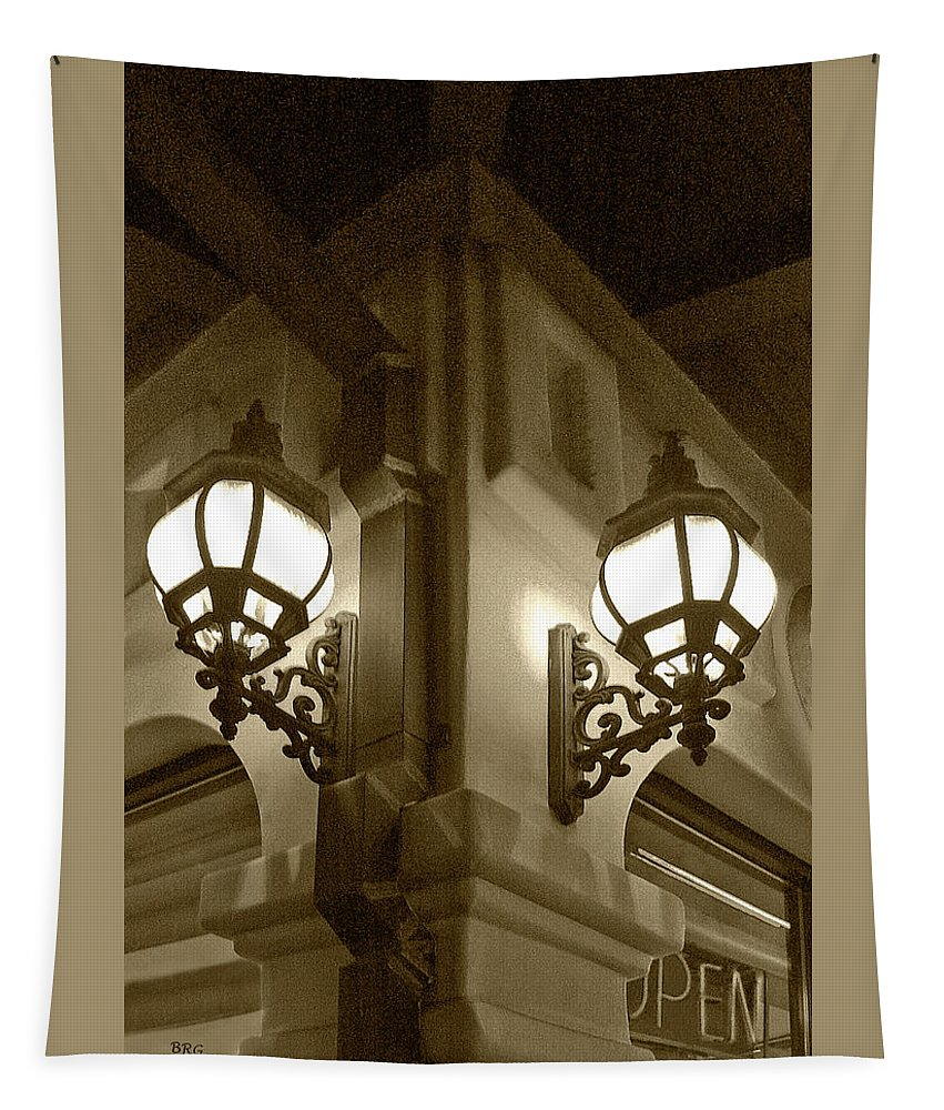 Architecture Tapestry featuring the photograph Lanterns - Night In The City - In Sepia by Ben and Raisa Gertsberg