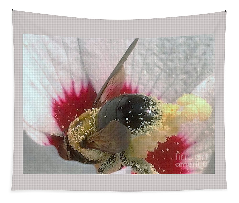 Hibiscus Tapestry featuring the photograph Large Bumble Bee In Flower by Debra Lynch