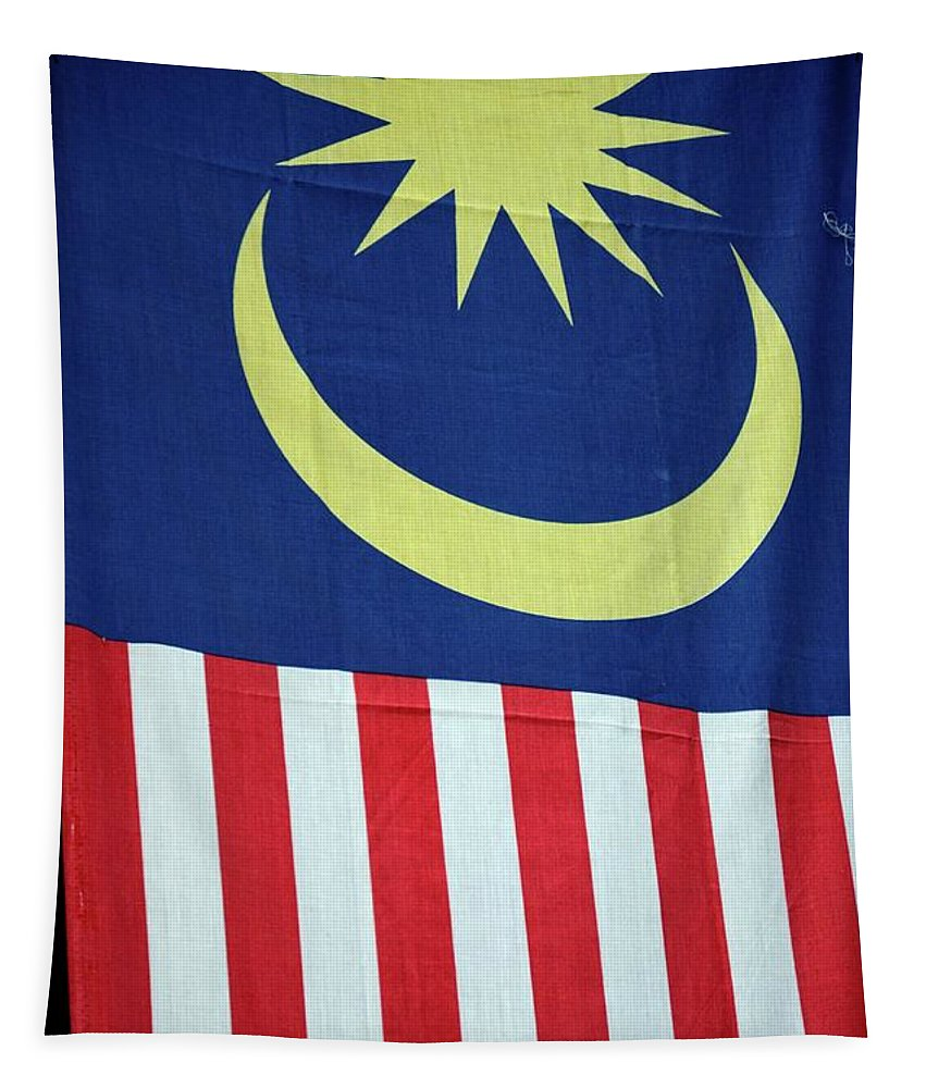 Lag Tapestry featuring the photograph Large Malaysia Flag On Doorway Georgetown Penang Malaysia by Imran Ahmed