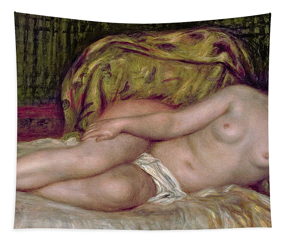 Large Nude Tapestry featuring the painting Large Nude by Pierre Auguste Renoir