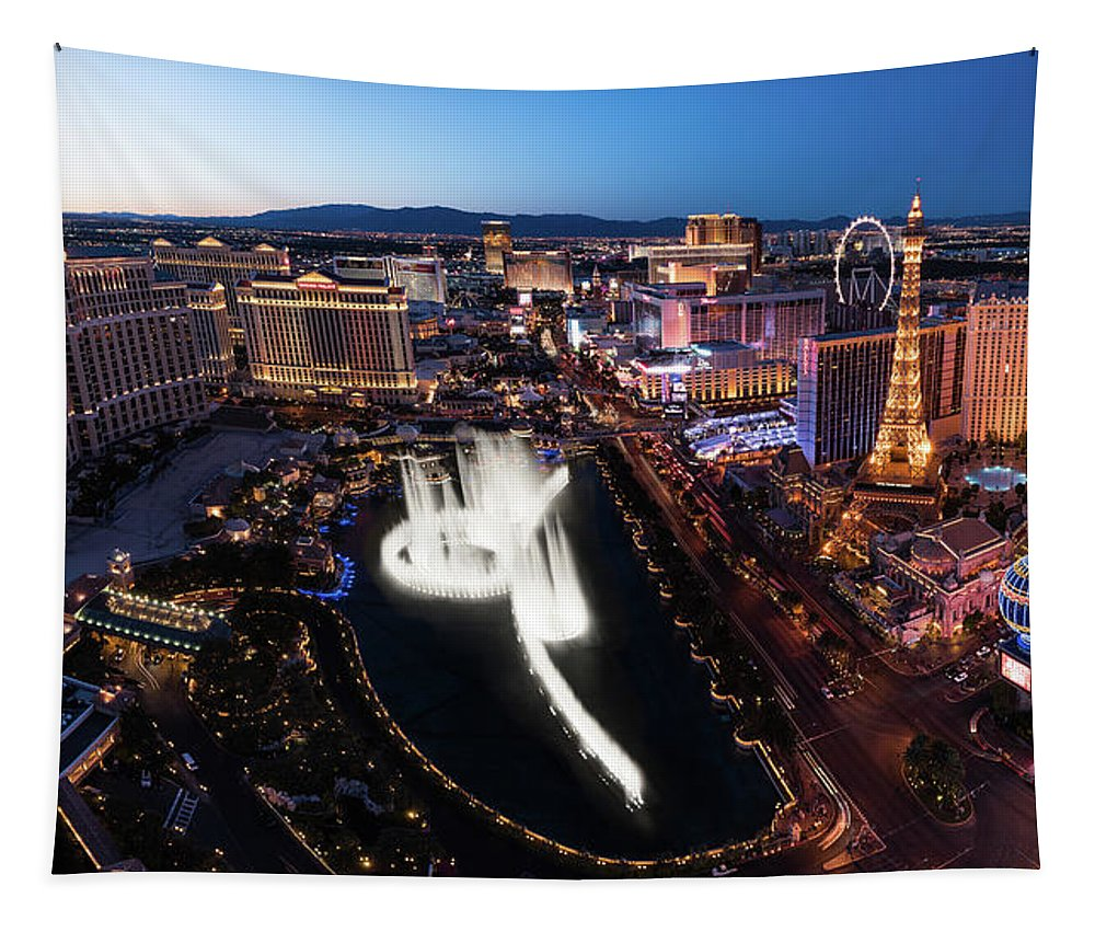 Las Tapestry featuring the photograph Las Vegas Lights by Steve Gadomski