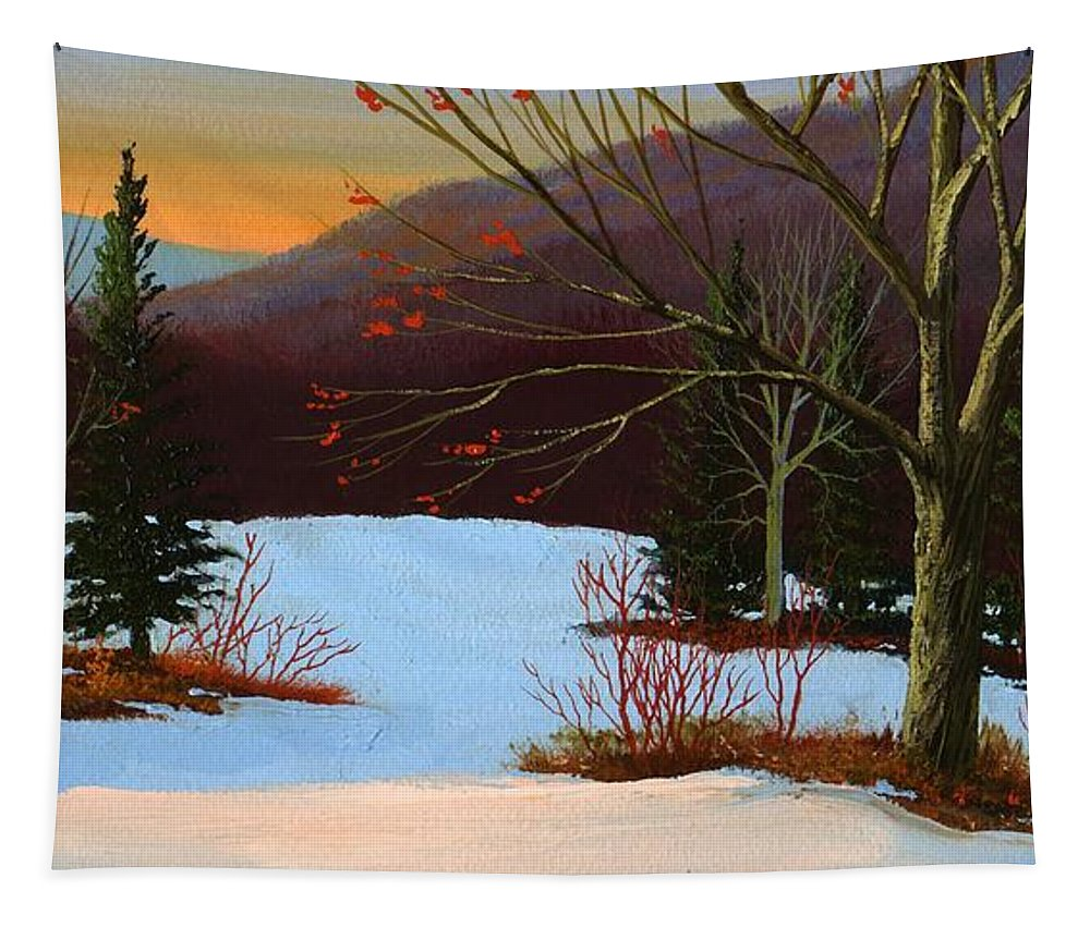 Winter Tapestry featuring the painting Last Light Of Day by Frank Wilson