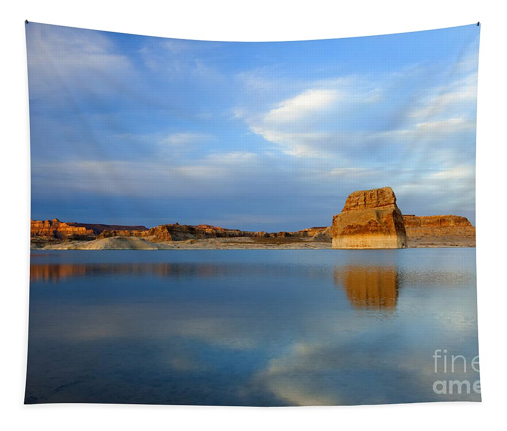 Lake Powell Tapestry featuring the photograph Last Light Over Lake Powell by Mike Dawson