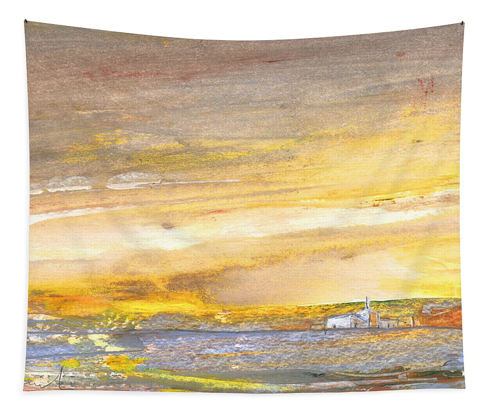 Watercolour Landscape Tapestry featuring the painting Late Afternoon 26 by Miki De Goodaboom