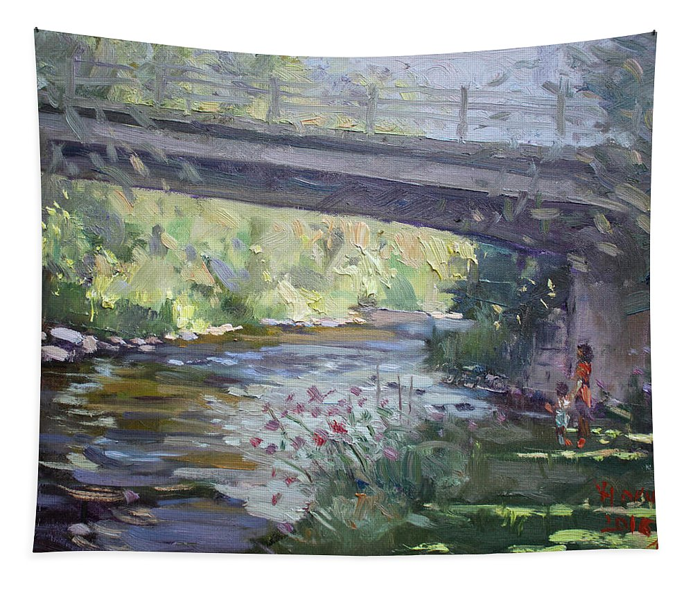 Late Afternoon Tapestry featuring the painting Late Afternoon at McNab Park by Ylli Haruni