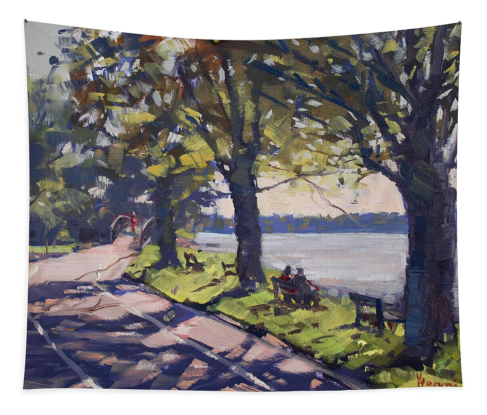 Late Afternoon Tapestry featuring the painting Late Afternoon at Niawanda Park by Ylli Haruni