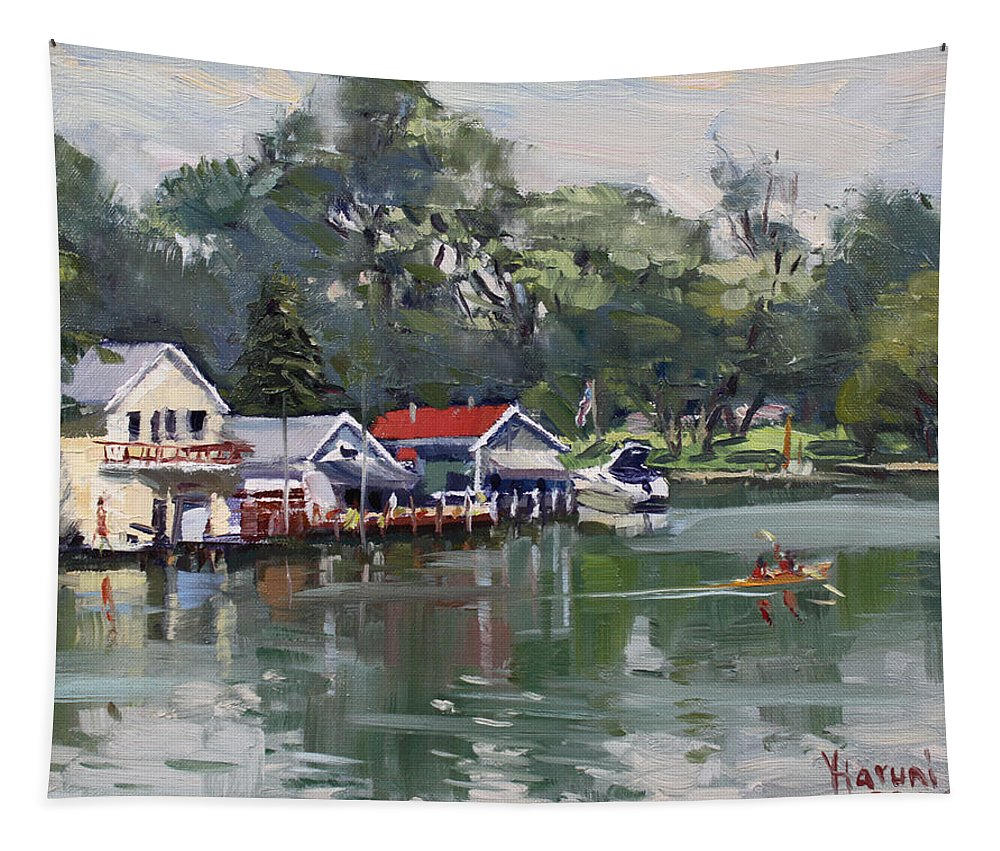 Afternoon Tapestry featuring the painting Late Afternoon By The Canal by Ylli Haruni