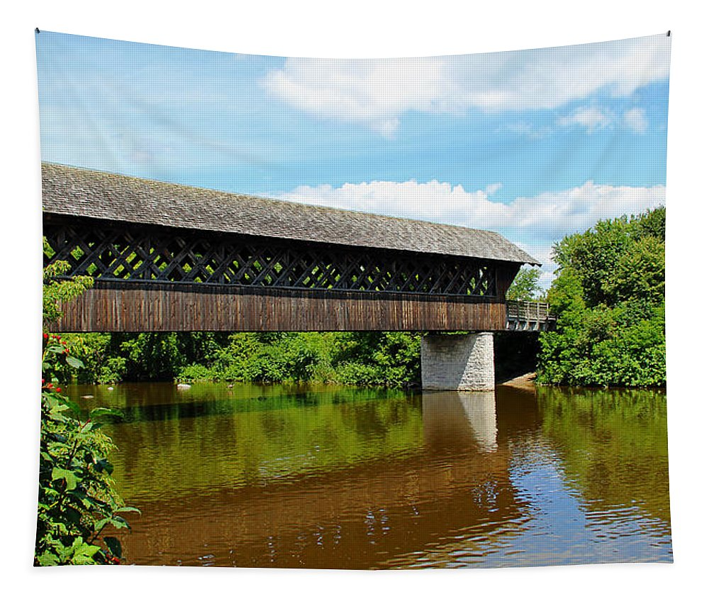 Guelph Tapestry featuring the photograph Lattice Covered Bridge by Debbie Oppermann