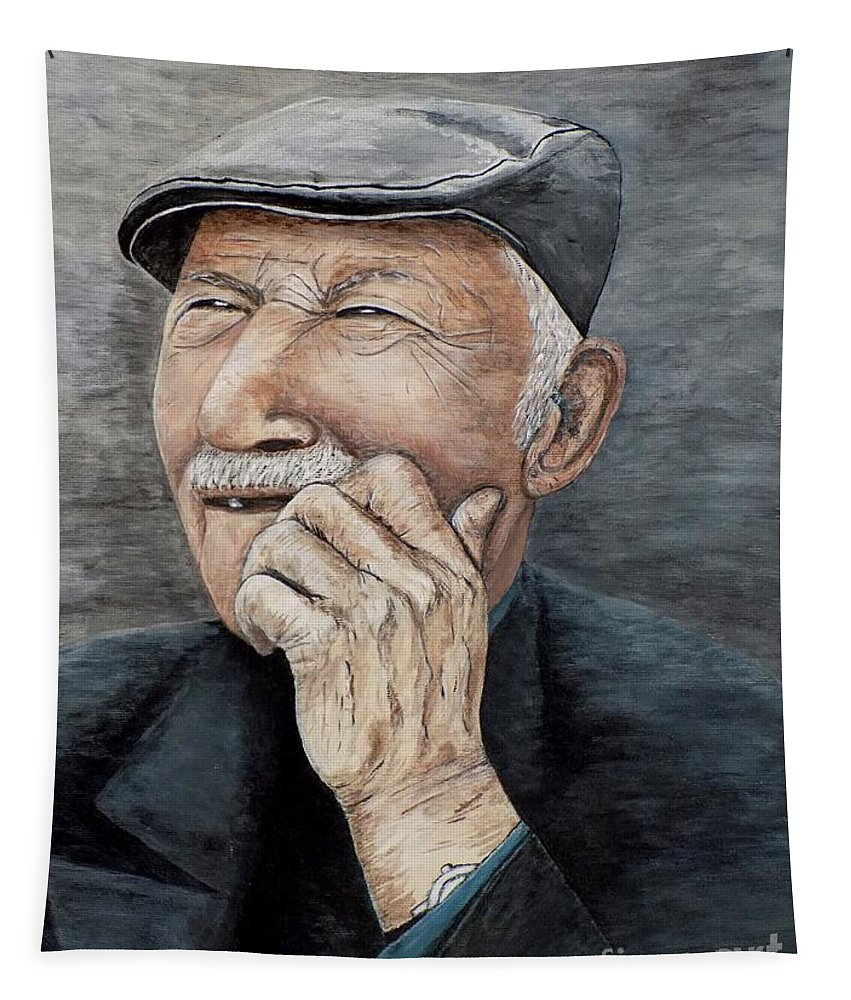Old Man Tapestry featuring the painting Laughing Old Man by Judy Kirouac