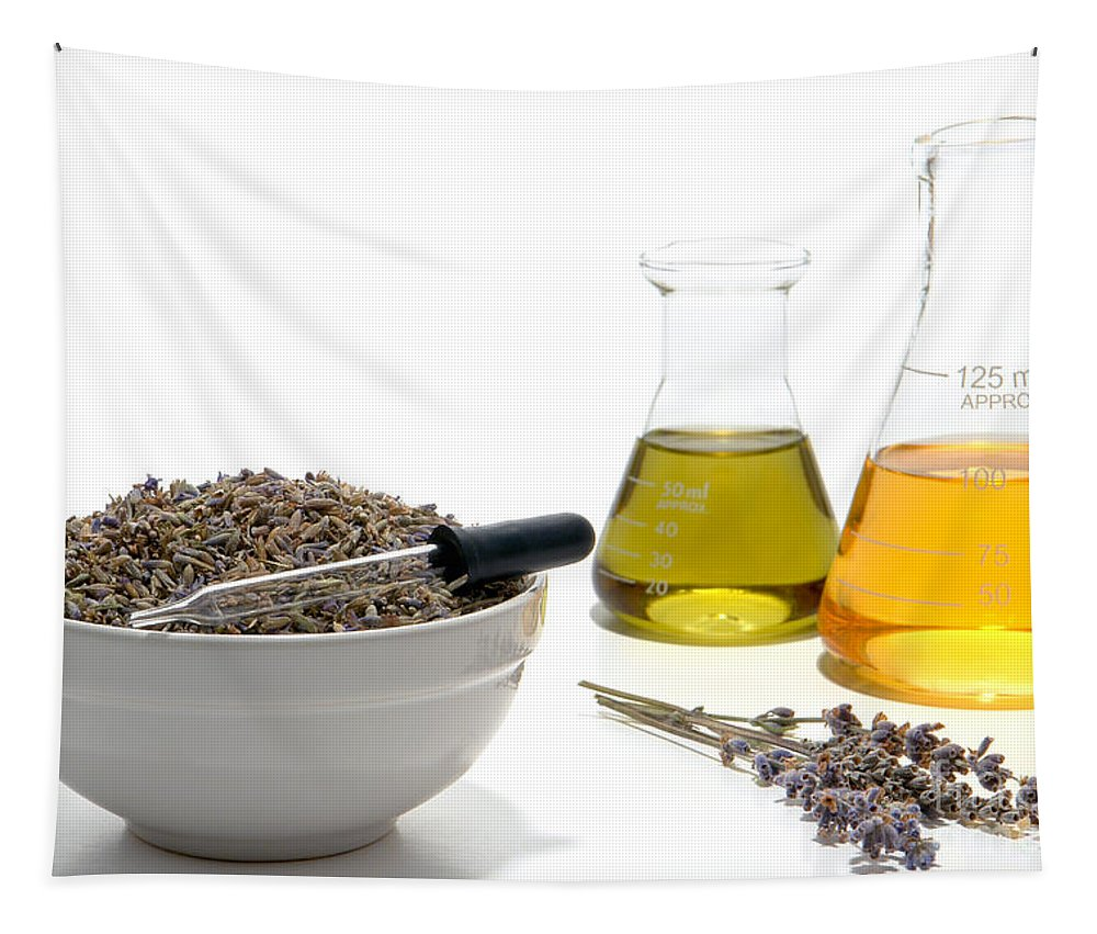 Aromatherapy Tapestry featuring the photograph Lavender Flower Aromatherapy Scent Manufacturing Process by Olivier Le Queinec