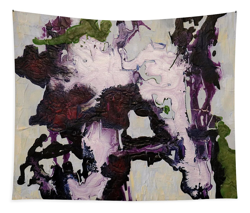 Abstract Tapestry featuring the painting Lavender Series No. 2 by Carole Sluski