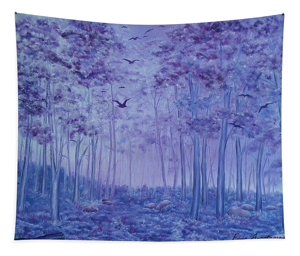 Forest Tapestry featuring the painting Lavender Woods by Faye Anastasopoulou